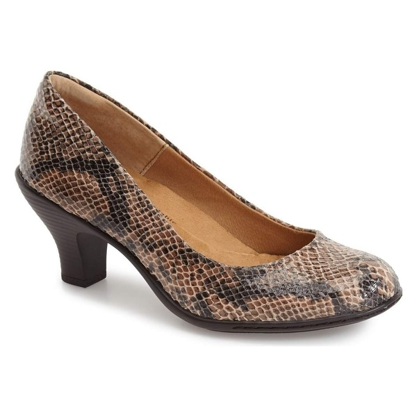 Softspots NEW Brown Salude Shoes 9.5N Snake Texture Pumps Heels