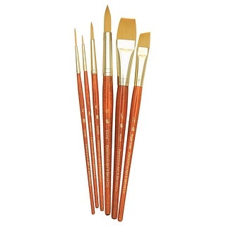 Princeton Economy Assorted Trim Short Handle Paint Brush Set, Assorted Size, Brown, Set of 6