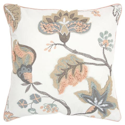 """Rizzy Home Ivory Floral 20""""X 20"""" Decorative Pillow"""