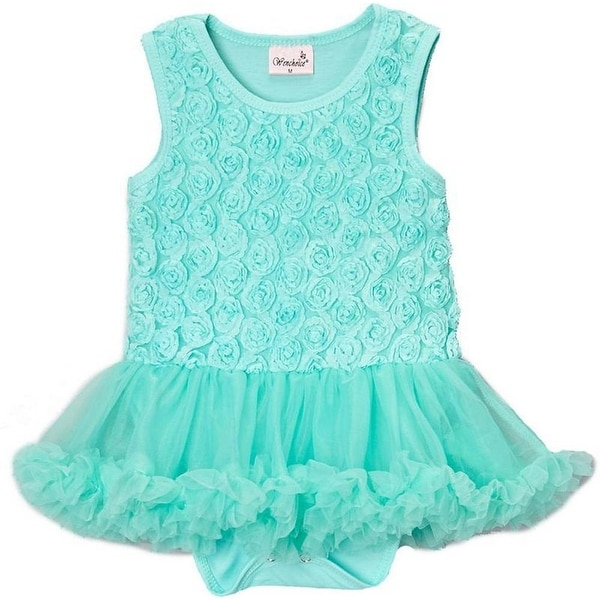 Wenchoice Baby Girls Teal Rose Tutu Sleeveless Bodysuit