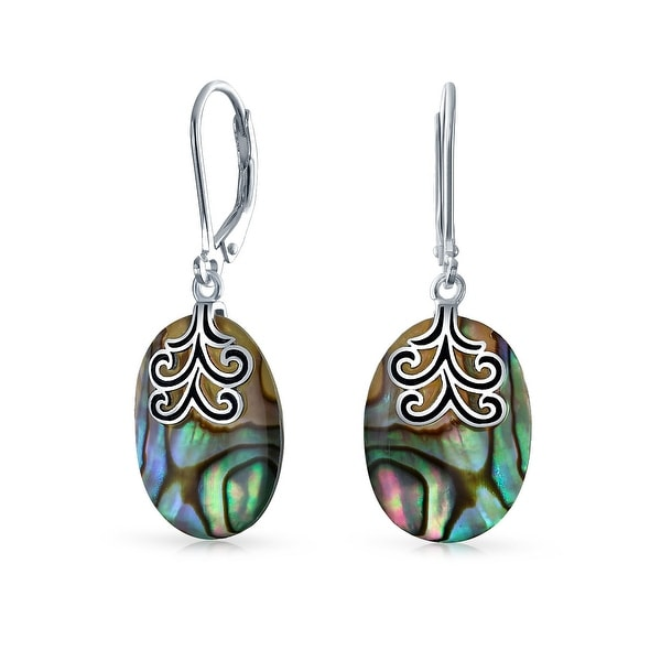 246473753 Shop Oval Rainbow Abalone Shell Filigree Swirl Leverback Dangle Earrings  925 Sterling Silver - On Sale - Free Shipping On Orders Over $45 -  Overstock - ...