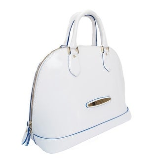 Pierre Cardin 4068 BIANCO/BLU Made in Italy White/Blue Leather Zip Dome Satchel