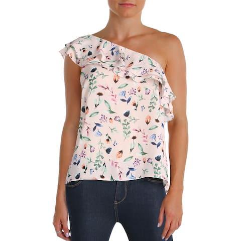 Aqua Womens Blouse Floral Print One Shoulder