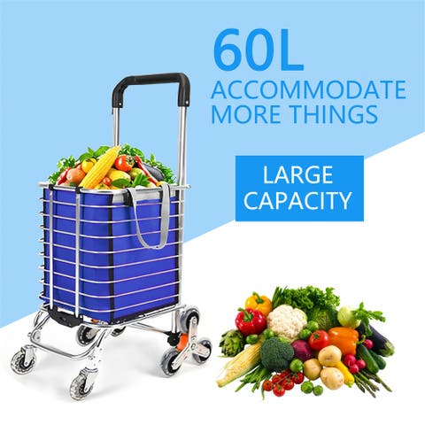60L/176 lbs Large Capacity Portable Grocery Utility Shopping Cart, Easily Collapsible Light Weight Trolley - 60L