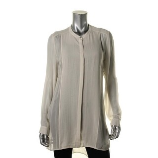 Eileen Fisher Womens Silk Sheer Button-Down Top