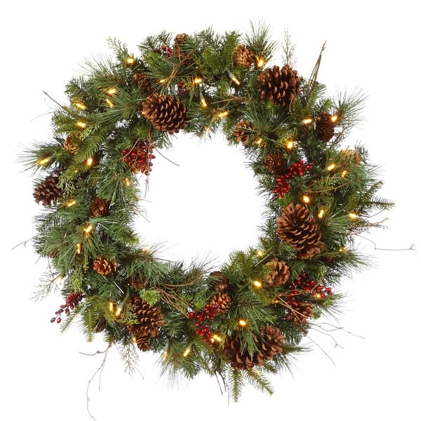 "36"" Pre-lit Cibola Mix Berry Pine Artificial Christmas Wreath - Warm Clear LED Lights - green"