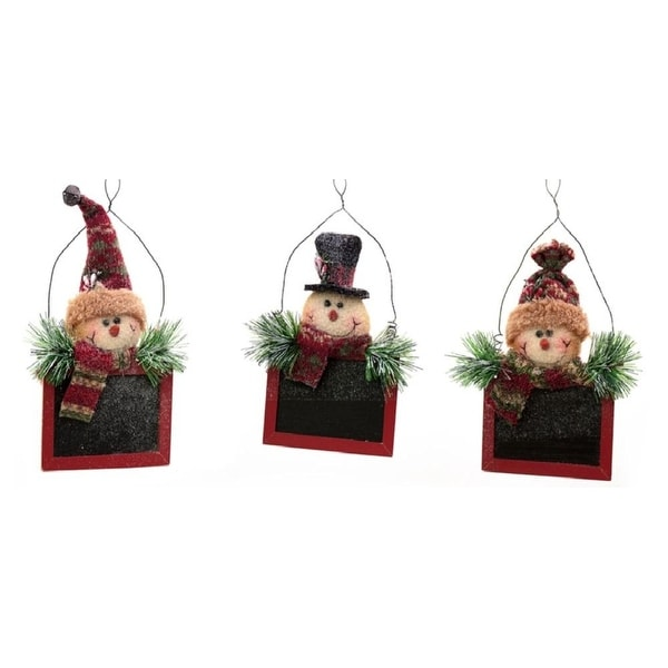 Pack of 9 Assorted Festive Snowman Chalkboard Ornaments 9""