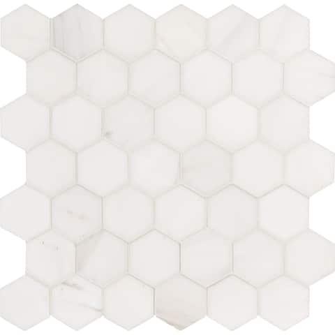 "MSI SMOT-DOL-2HEXP Bianco Dolomite - 2"" x 2"" Hexagon Mosaic Tile - - White"