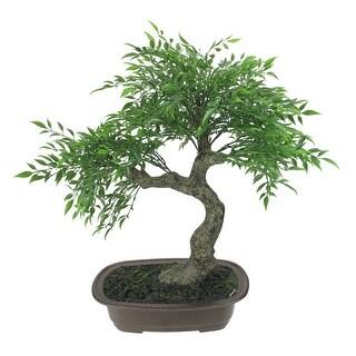 "18"" Green Mini Bonsai Artificial Tree in a Brown Pot"