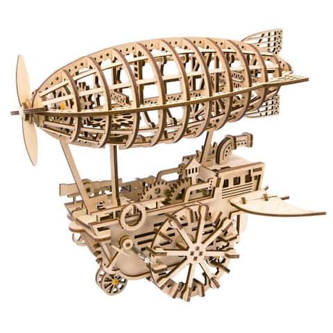 """DIY 3D Wooden Mechanical Gears Kit - Air Ship - 11.8x8.45x11.8"""""""