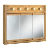 "Design House 530618 36"" Framed Triple Door Mirrored Medicine Cabinet with 5-Lights from the Richland Collection"