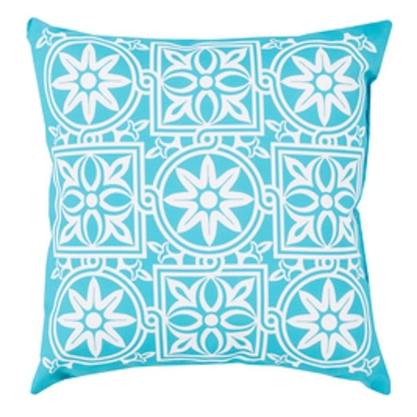 "18"" Aqua Blue and Ivory Floral Maze Decorative Pillow Shell"