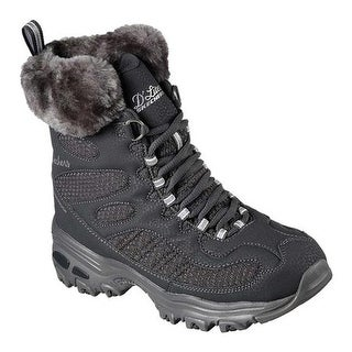 Skechers Women's D'Lites Snow Plaza Mid Calf Boot Charcoal