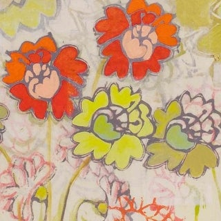 Marmont Hill Two Orange and Green Flowers Painting Print on Canvas