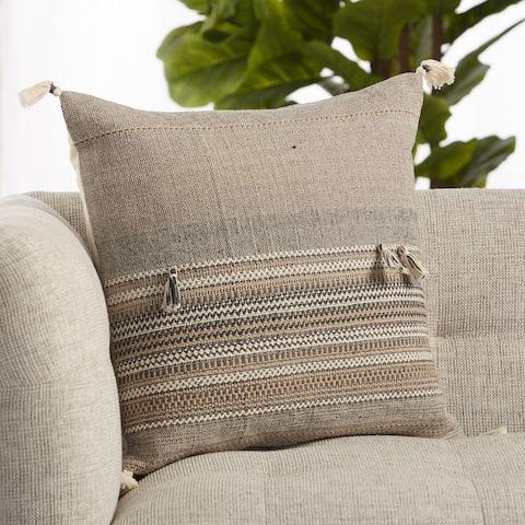 Cainen Brown/ Cream Striped Throw Pillow 20 inch