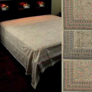 Block Print Tapestry Wall Hang Cotton Floral Tablecloth Bedspread Blue Brown Orange Purple Pink Black Full