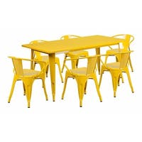 """Offex 31.5"""" x 63"""" Rectangular Yellow Metal Indoor Table Set with 6 Arm Chairs [OF-ET-CT005-6-70-YL-GG]"""