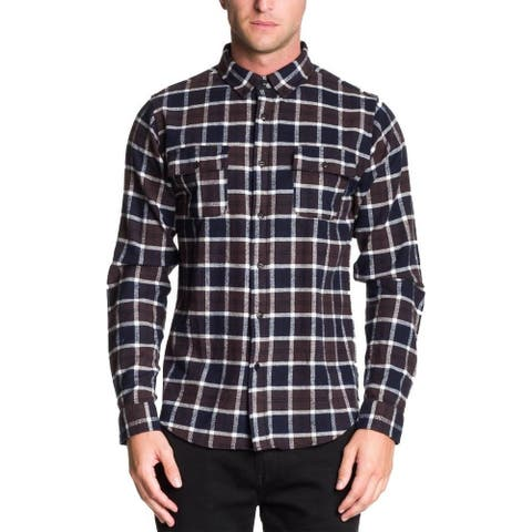 Ezekiel Men's Cannon Plaid Shirt, Blue/Grey, Large