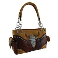 Embroidered Southwest Steer Skull Studded Concealed Carry Purse
