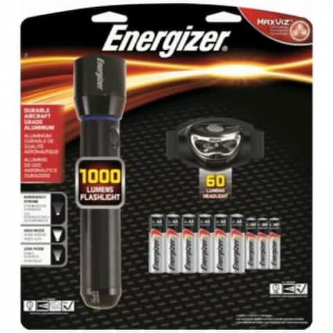 Energizer PMUHD61E Metal LED Flashlight Light + Universal Headlight Combo