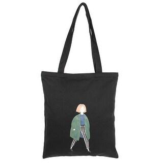 Lady Canvas Girl Pattern Zipper Design Reusable Book Holder Shoulder Tote Bag