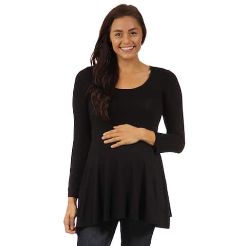 24seven Comfort Apparel Chic Long Sleeve V-Neck Maternity Tunic Top