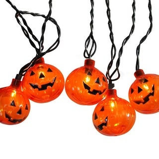 Set of 10 Transparent Orange Pumpkin Halloween Lights - Black Wire