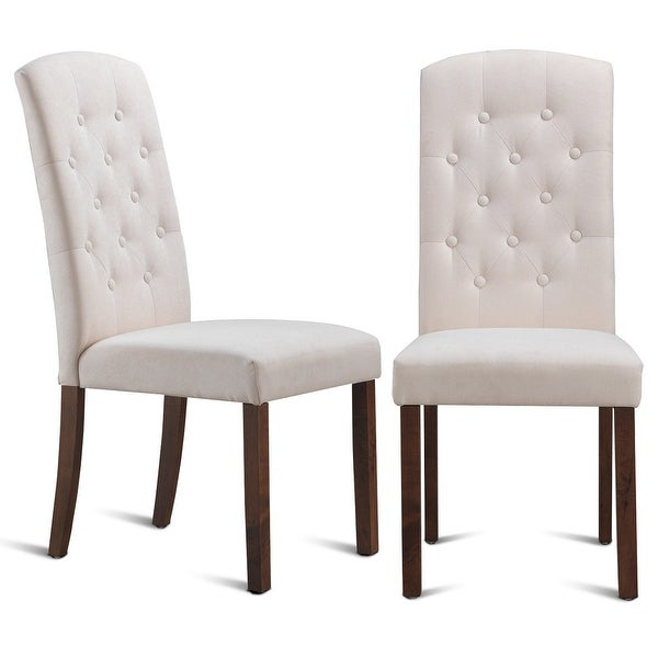 Free Kitchen Tufted Dining Bench With Back Ideas With: Shop Gymax Set Of 2 Dining Side Chairs Upholstered Fabric