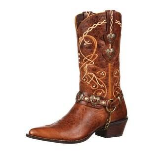 "Durango Western Boots Womens 11"" Crush Heart Concho Brown"
