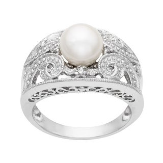 7.5 mm Pearl Ring with Diamonds in 14K White Gold