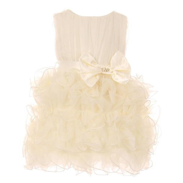118316726a Shop Baby Girls Ivory Cascade Organza Ruffle Bow Accent Flower Girl Dress -  Free Shipping On Orders Over  45 - Overstock - 23159613