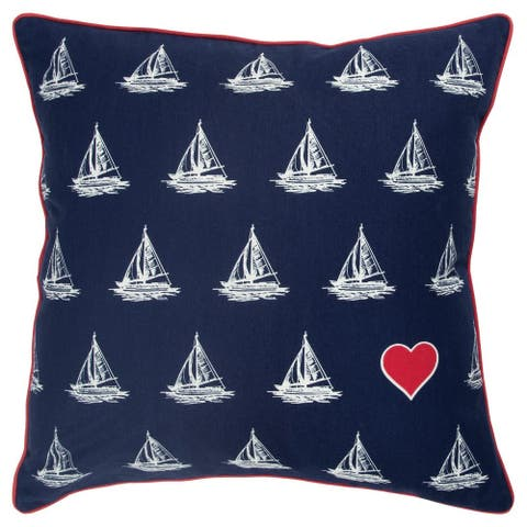 """Rizzy Home Navy Boats 20""""X 20"""" Decorative Pillow"""
