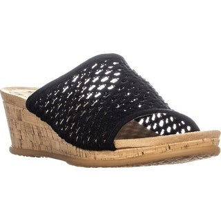BareTraps Flossey Comfrot Wedge Sandals, Black - 9 us