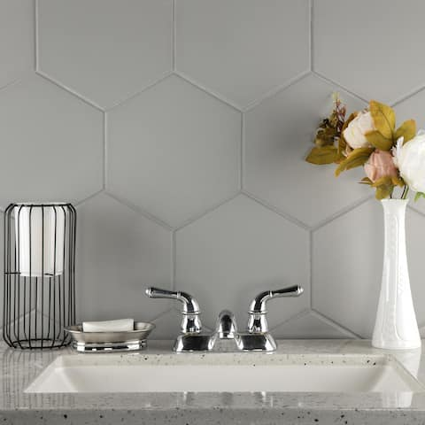 SomerTile 8.625x9.875-inch Textilis Silver Hex Porcelain Floor and Wall Tile