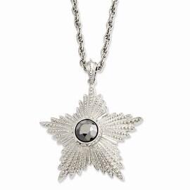 Silvertone Hematite Epoxy Stone Star Pendant Necklace - 32in