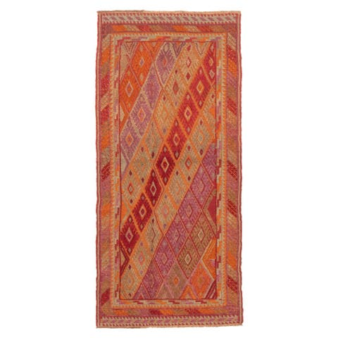 ECARPETGALLERY Hand-knotted Tajik Caucasian Dark Red Wool Rug - 2'8 x 5'11
