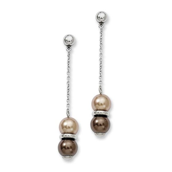 Stainless Steel Brown & Champagne Beads Post Dangle Earrings