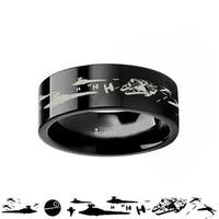 THORSTEN - Star Wars A New Hope Death Star Space Battle Black Tungsten Ring Episode IV - 10mm