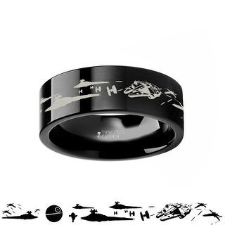 Link to Thorsten Star Wars | Tungsten Rings for Men | Black Tungsten | Comfort Fit | A New Hope Death Star Space Battle Ring Band - 4mm Similar Items in Action Figures