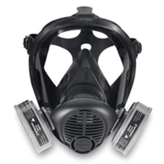 Sperian 776184 Opti-Fit Silicone Full Facepiece Respirator, Black, Large