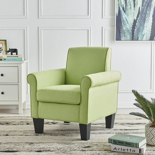 Angela Green Microfiber Fabric Armchair, Rolled Arm Living Room Chair. Opens flyout.