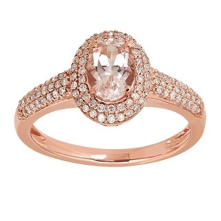 3/4 ct Natural Morganite & 1/3 ct Diamond Ring in 14K Rose Gold - Pink