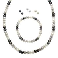 Honora Black, White & Grey Freshwater Pearl Set in Sterling Silver - multi-color