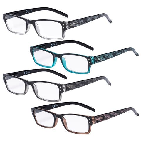 Eyekepper 4 Pack Fashion Spring Hinge Reading Glasses Women Reading