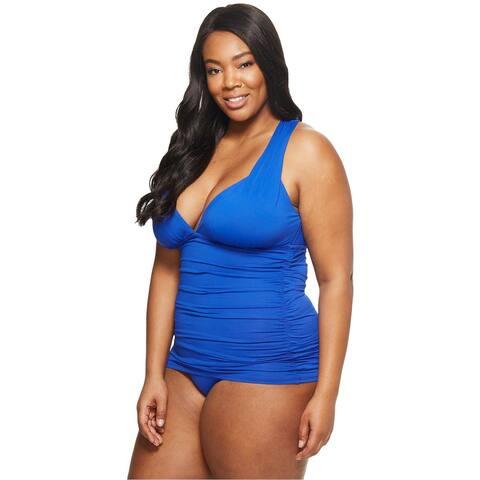 2546b5fa6b2 Lauren Ralph Lauren Womens Plus Size Tummy-Control Halter Swimdress 18W Blue