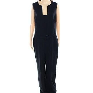 Lauren Ralph Lauren NEW Black Womens Size 4 Square Neck Crepe Jumpsuit