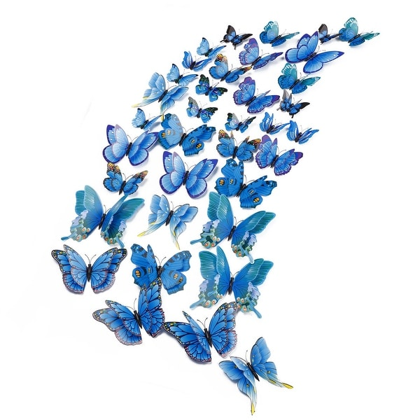 36pcs 3D Butterfly Wall Stickers Decal Sticker for Room Decoration Blue
