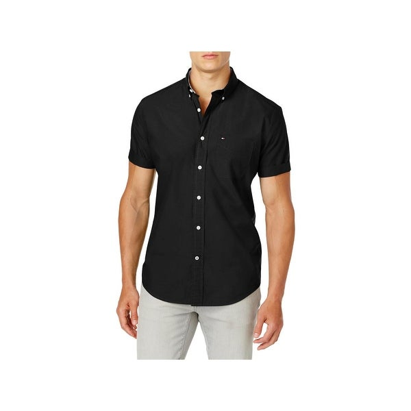055e659f Tommy Hilfiger Mens Big & Tall Maxwell Button-Down Shirt Pocket Short  Sleeves
