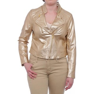 Thalia Sodi  Core Cropped Motorcycle Jacket Motorcycle Gold