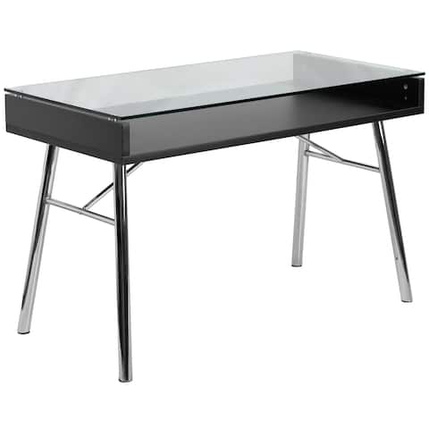 Tempered Glass Top Desk with Open Storage and Chrome Frame